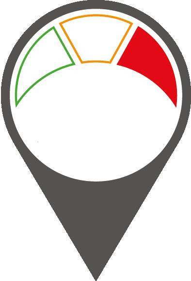 Rot markierte Ladestationen in der Netzkarte weisen eine Ladeleistung von mehr als 50 kW auf.